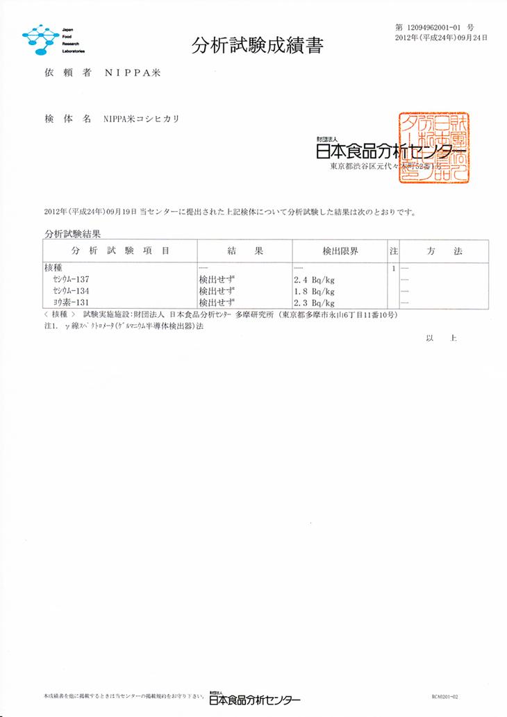 NIPPA米(ニッパマイ)放射性物質検査